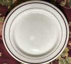 Anchor Hocking Fire King Dinner White Plates Brown Rings Rims 940 Good Condition