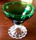 """Tall Footed Compotier. Green Bowl w/ Clear Glass Beaded Pedestal. VTG."
