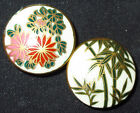 PAIR OLD ANTIQUE JAPANESE SATSUMA PORCELAIN BUTTONS FLOWERS BAMBOO PLANT - 3/4