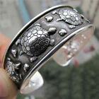 Tibet Silver Plated Carved Longevity Turtle Pattern Bracelet Party Gift TEUS