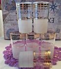 MCM 6 HOLLYWOOD REGENCY GLASS HIGH BALL TUMBLERS FROSTED WITH GOLD TRIM