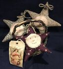 Three Primitive *Vintage Christmas Star* Bowl Fillers/Ornies