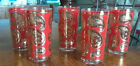 Set of 5 Five Vintage Culver High Ball Glasses Red and 22k Gold Paisley