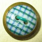 VERY SCARCE 19th C. ANTIQUE CHINA BUTTON  -  PURPLE GREEN GINGHAM CALICO 7/16