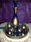VINTAGE BLUE DECANTER AND SHOT GLASS SET WITH MIRRORED TRAY HAND PAINTED