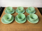 (6) FIRE KING JADITE jadedite RIBBED Jane Ray coffee cup saucer