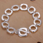 XMAS wholesale sterling solid sliver chic square chain bracelet S4B866 + box