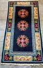 Hand Made Vintage Art Deco Chinese Wool Rug 3 X 5.8' Navy Very Nice Condition