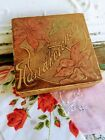 Antique Pyrography Flemish Handkerchief Box with red Poinsettia Flowers