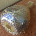 AMAZING Quezal Art Glass Vase with Heavy Sterling Overlay