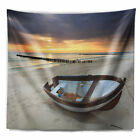 East Urban Home Boat on Beautiful Sunrise Seashore Tapestry and Wall Hanging