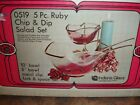 Vintage 5 pc. Ruby Chip and Dip Salad Set Unused in original Box Indiana Glass