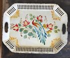 Old Vtg Hand-Painted Metal SERVING TRAY Toleware Peacock Bird Flowers Tole