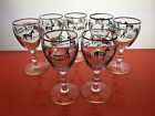 Libbey Currier and Ives Christmas Glasses Winter horses Wine Red Trim barware
