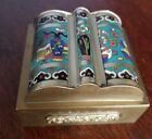 Vintage Chinese Cloisonne and Brass Box w/ Hinged Lid 3