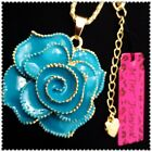 Betsey Johnson Crystal Blue flowers Pendant charm Sweater chain necklac CC1011