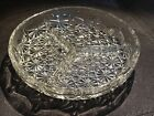 1950 Mid-century Vintage Round Divided 3 Section Crystal Serving Dish