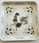 Vintage Metal Rooster Tray MAXEY Tole white black gold Vtg Serving
