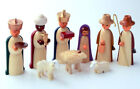 Wooden Nativity German Figurine 9 Piece Set Colorful