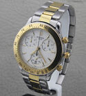 Movado Tachymeter 1850 Mens White Chronograph Dial 18k GP Sapphire Crystal Watch