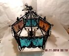 AUTHENTIC VINTAGE WROUGHT IRON HANGING LAMP LANTERN FROM 1960's Colored Glass