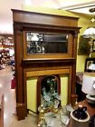 AMERICAN ANTIQUE QUATERSAWN TIGER GOLDEN OAK FIREPLACE MANTEL 1890-1900 MANTLE