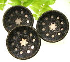 3 MATCHING VICTORIAN METAL BUTTONS WITH MIRROR STARS T48