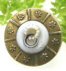 VICTORIAN METAL BUTTON WITH GLASS INSERT DOUBLE WEDDING RING DESIGN T64