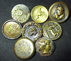 LOT 8 ANTIQUE VICTORIAN BRASS METAL PICTURE BUTTONS - EGYPTIAN - MYTH - CHURCH +