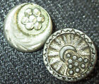 PAIR ANTIQUE VICTORIAN PEWTER METAL PICTURE BUTTONS - CRESCENT MOON