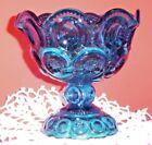 L. E. SMITH GLASS MOON AND STARS PATTERN BLUE  GLASS COMPOTE /CANDY DISH