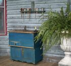 1800s Drysink Commode Cupboard with Lid Old Style Blue Dovetailed Square Nails