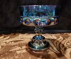 VINTAGE INDIANA CARNIVAL GLASS BLUE THUMB PRINT PEDESTAL COMPOTE CANDY BOWL