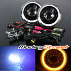 "7"" ROUND YELLOW 3D SMD HALO BLACK HOUSING PROJECTOR HEADLIGHTS/10000K HI-LOW HID"