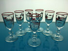 set of Libbey Currier and Ives Christmas Glasses Winter horses Wine barware