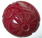 LG VINTAGE BAKELITE BUTTON - CHUNKY DEEPLY CARVED DARK RED FLOWER DESIGN  1 1/8