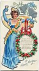 Italian Amerian Girl in Blue~Champagne Glass Silver Bells Old New Year Postcard