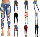 Women Faded Low Waist Stretch Ripped Frayed Ladies Denim Pants Jeans Size 6-14