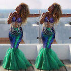 Sexy Mermaid Adult Women Halloween Costume Fancy Party Sequins Dress Tail Skirt