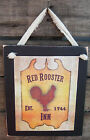Red Rooster Inn Tavern Wall Sign Plaque Primitive Rustic Lodge Cabin Decor