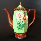 Hirode Green And Red Chocolate Pot Or Teapot - Hand Painted With Moriage - Japan