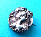 ANTIQUE TINY TESTED 925 STERLING SILVER BROOCH,RAISED ART NOUVEAU LADY HEAD.