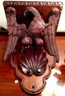 Antique American Eagle Corbel Wall Shelf Federal Carved Walnut Chippendale Shell