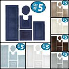 Toilet Seat Lid Cover Bathroom Mat Combo Pack Bath Rug Set Of 5 Decoration NEW