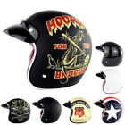 SOMAN Open Face Scooter Motorcycle Helmet 3 4 Retro Vintage Chopper DOT