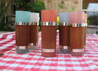 7 Vintage Libby Bamboo Wood Frosted Glasses Pastel Colors