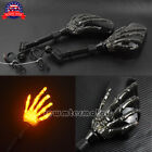 Motorcycle 8mm 10mm Skull Hand Side Rearview Mirrors Turn Signal Fit For Harley
