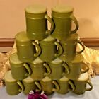 RETRO ANCHOR HOCKING FIRE KING BARREL CRATE COFFEE CUP/MUG LOT OF 10 OLIVE GREEN