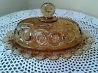 Amber Glass Coverd OVAL Butter Dish