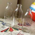 VINTAGE ANCHOR HOCKING 3 - 4OZ. BABY BOTTLES/NURSERS, CRYSTAL CLEAR GLASS - EXC.
